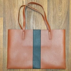 Vince Camuto brown tote bag with black stripe